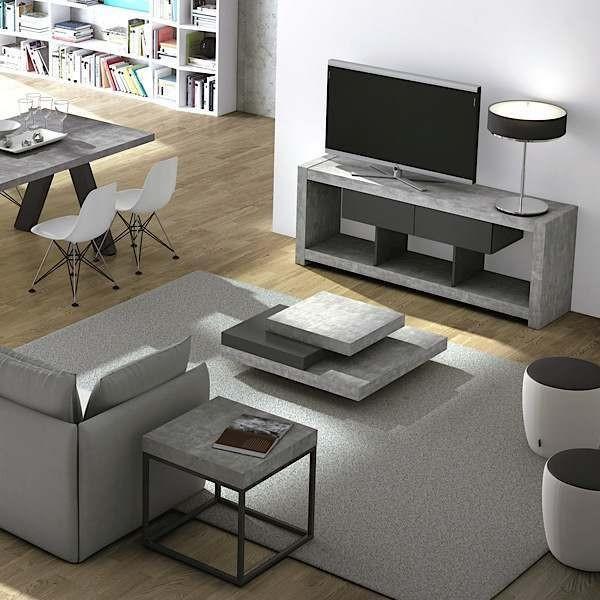 Meuble Effet Beton #6: Meuble TV Design NARA Effet Gris Béton